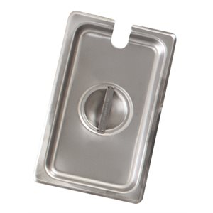 Steam table pan cover notched one-fourth
